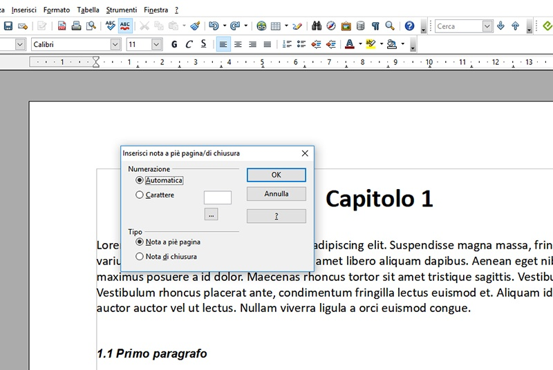 Note in Open Office