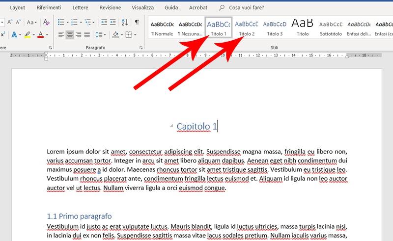 Stili dei titoli in Microsoft Word