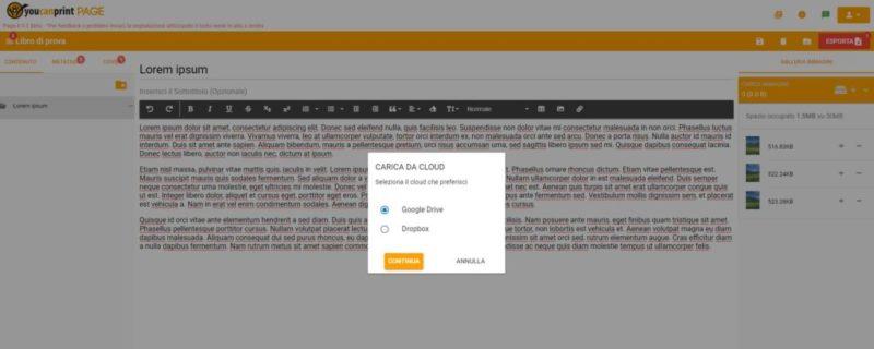 Caricare le immagini da cloud su Page