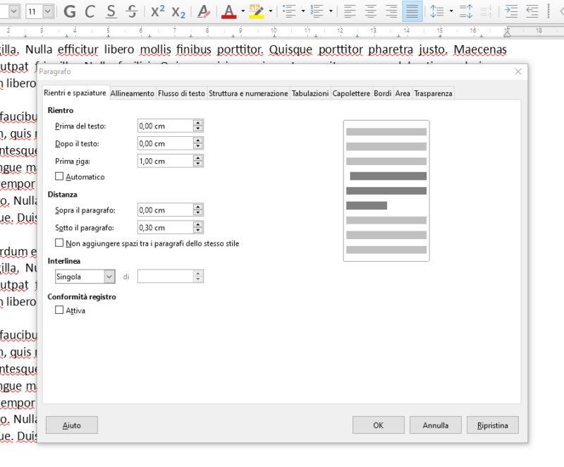 Rientri e spaziature in LibreOffice