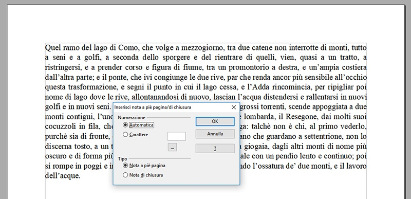 Inserire note a piè di pagina in Open Office