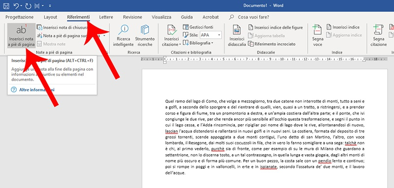 Inserire note a piè di pagina in Word