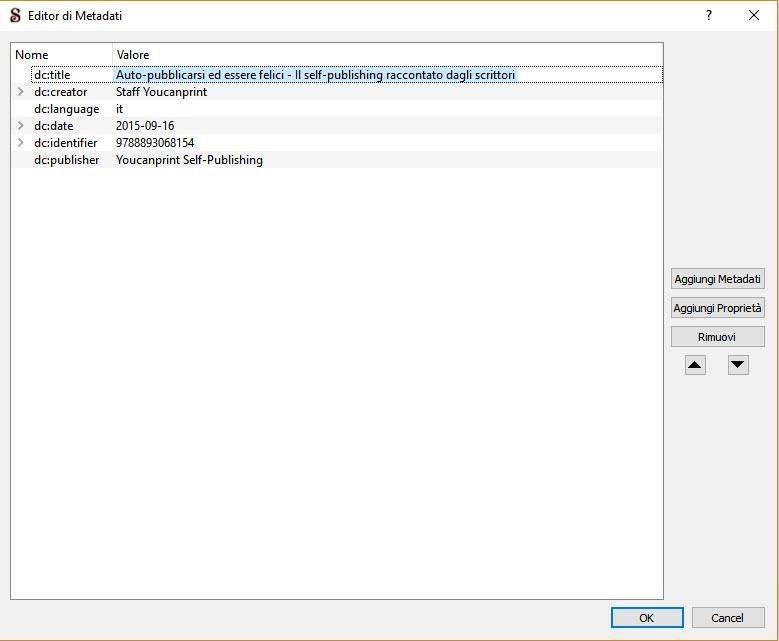 metadati per realizzare un ebook